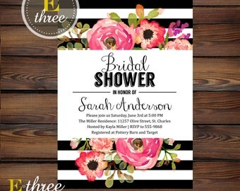 Floral and Stipes Bridal Shower Invitation - Modern Bridal Shower Invite - Black, Pink, Coral - Wedding Shower Invitations