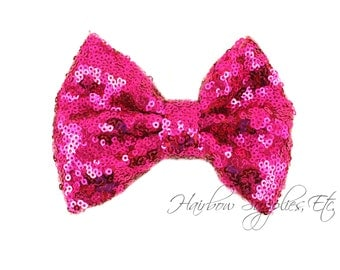 Fuchsia Large Sequin Bows 4 inch Bows - Bow Applique, Sequin Bow, Large Bows, Big Bows, Wholesale Bows, Sequin Bow Tie, Sequin Bow Headband