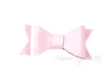 Light Pink Faux Leather Bows 2-1/2 inches- Light Pink Leather Bow, Pink Leather Hair, Light Pink Faux Leather, Light Pink Leather Bow Tie