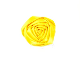 Yellow Folded Satin Rolled Flowers Rosettes 2 inch - Yellow Satin Flowers, Yellow Hair Flowers, Yellow Flowers For Headbands. Yellow Flowers