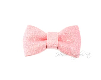 Light Pink Glitter Bow - 3 inch - Hairbow Supplies, Etc.