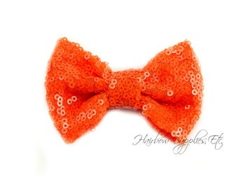 Orange Sequin Bows Small 3 inch - Sequin Bow Headband, Sequin Bow Tie, Sequin Hair Bow, Sequin Hair Bows, Sequin Baby Bows