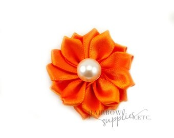 Orange Dainty Star Flowers with Pearl 1-1/2 inch - Orange Fabric Flowers, Orange Silk Flowers, Orange Hair Flowers, Orange Flowers for Hair