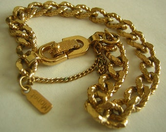 Vintage Bracelet MONET Gold Tone Braided Rope Great Texture Signed & Safety Chain Excellent Condition