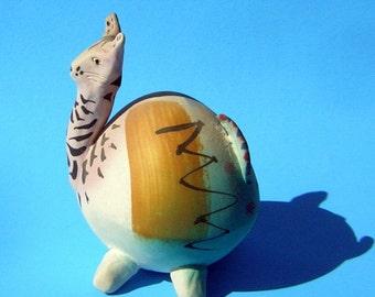 Whimsical Clay Animal Sculpture Hand Made Hand Painted Vintage 90s Giraffe Zebra MugWump