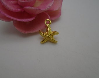 100 pieces gold color plated 16mmx14mm metal starfish charm/pendant for jewelry