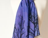 blue violet purple hand dyed and printed silk scarf with tree