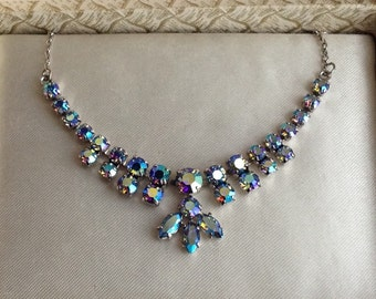 Vintage Peacock Blue Aurora Borealis Crystal Necklace