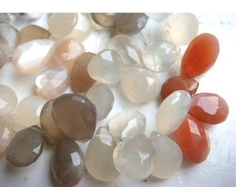 50% VALENTINE SALE Multi Moonstone - Multi Moonstone Faceted Pear Shaped Briolettes  - 12x10mm Each - 23 Pieces