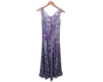 90s Blue Boho Beach Rayon Crinkle Mermaid Open Back Dress