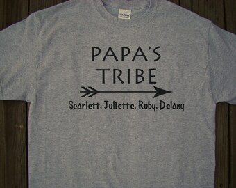 Papa's Tribe T-Shirt personalized with grandchildren names- Unique Papa Father's day Gift for Dad, Custom printed for Dad