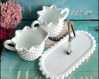 Fenton Hobnail Sugar, Creamer, and Tray / Milk Glass Sugar and Creamer / Hobnail Serving Pieces