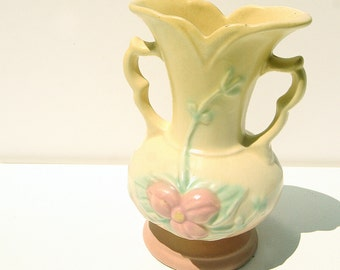 "Mid Century Hull Vase 5 1/2"" Butter Yellow Sea Foam Green Raspberry Wonderful Condition"