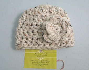 Baby Girl Hat Crochet Hat with Flower,  Available in  Newborn to 6 Months  Photo Prop, Choose Size and Colors