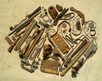 Rusty Metal Pieces - Found Objects for Assemblage, Jewelry or Altered Art - Salvaged Supplies