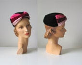 vintage 1950s hat / 50s hat / Wrapped in Ribbons