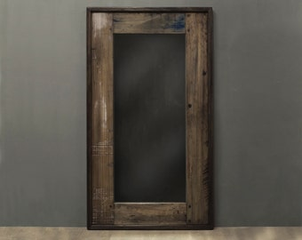 Wood Mirror Salvaged Reclaimed Wood Mirror Weathered Distressed Narrow Decorative Accent Mirror w Blue appx 36 X 20 in