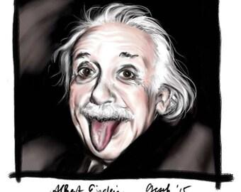 Einstein, A4 Fine Art Portrait Drawing Print