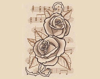 Musical Roses Tea Towel | Kitchen Towel | Embroidered Towel | Hand Towel | Embroidered Tea Towel | Personalized Kitchen Towel | Flowers