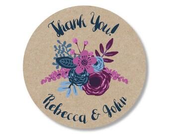 Wedding Sticker, Wedding Favor Sticker, Wedding Thank You Sticker, Kraft Sticker, Flower Sticker, Wedding Flower Sticker, Flower Invitation