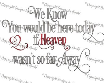 We know you would be here today if heaven wasnt so far away SVG memorial SVG File  digital cut file Instant Download