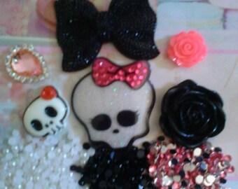 Kawaii decoden deco diy charm black bow and skull cabochon kit  B  37---USA seller