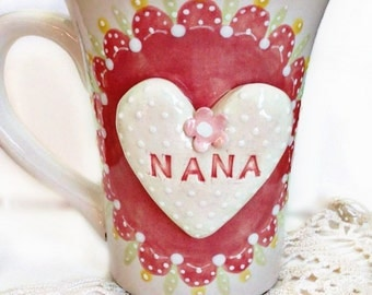 Pretty Personalized Tea Cup For Mimi - Personalized Mimi Cup - Granma Teacup - Coffee Mug Gift For Nana -  Shabby Chic Tea Cup