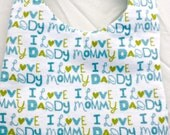 I Love Mommy/Daddy Pink or Blue Baby Bib