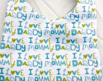 I Love Mommy/Daddy Pink or Blue Baby Bib