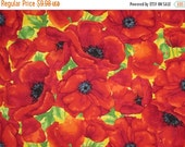 ON SALE Allover Red Poppy Print Pure Cotton Fabric--One Yard