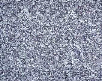 Indigo Blue Charming English Bird Print Pure Cotton Chambray Shirting Fabric--By the Yard