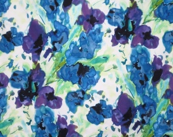 ON SALE Purple Green and Blue Watercolor Floral Print Stretch cotton Sateen Fabric--One Yard