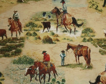 Western Cowboy Scenic Print Pure Cotton Fabric--By the Yard