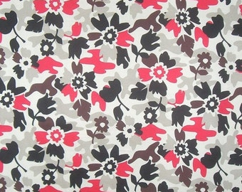 ON SALE SPECIAL-Beige Black and Red Floral Camouflage Print Stretch Cotton Twill Fabric--One Yard