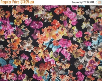 ON SALE Colorful Orchids on Black Print Stretch Cotton Sateen Fabric--One Yard