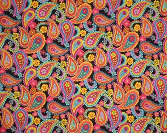 Colorful Packed Paisleys Tribeca Print Pure Cotton Fabric--By the Yard