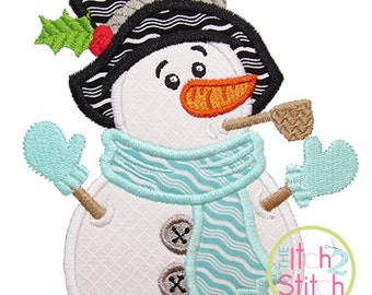 "Snowman Pipe Applique,  Sizes 4x4, 5x7, & 6x10, shown with our ""Beneath Your Beautiful"" Font NOT Included, INSTANT DOWNLOAD available"