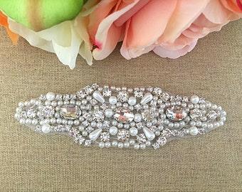 Rhinestone Applique- Bridal Applique - Wedding Applique - Pearl and Rhinestone Wedding Applique
