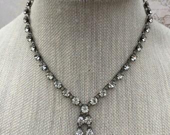 Vintage Elegant Rhinestone Necklace, Estate Jewelry