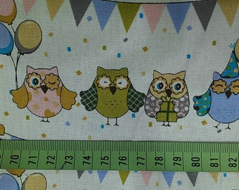 "Owls and balloon - 1 yard - cotton linen - 3 colors - fabric ,forest, cute, Check out with code ""5YEAR"" to save 20% off"