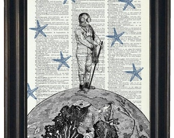 BOGO Sale Moon With Diver and Starfish Stars Art Print with A HHP Original Concept and Design Wall Decor Dictionary Dictionary Prints