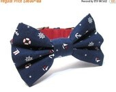 ON SALE Dog Bowtie, Bow tie Dog Collar-Nautical Navy Ahoy Matey