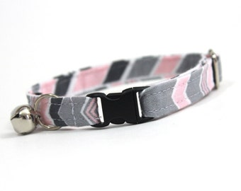 Pink and Grey Chevron Stripe Cat Collar