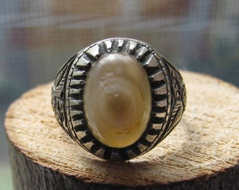 Vintage Silver Victorian Style Ring with Unique Jasper Stone Size 8 Women's Ladies Ring