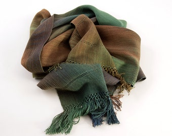 Organic Bamboo Spaced Dyed Scarf Green/bronze/teal