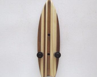 Ukulele wall mount hanger, mini surfboard, dark brown stain