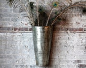Hanging Flower Pot Reclaimed  Metal Large Wall Sconce Retail Display Industrial Decor Boho Chic Wall Hanging