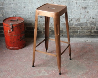 Industrial Chic Copper Plated Finish Barstool Metal Tolix Stool Stackable Bistro Chair Cafe Chair Modern Restaurant Bar