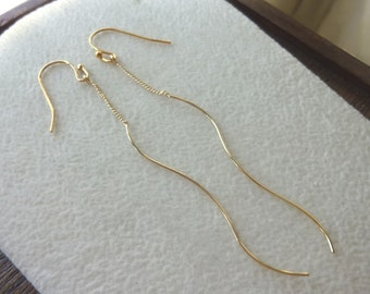 Long Chain and Skinny Swirl Stick Gold Earrings