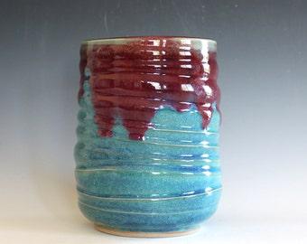 Kitchen Utensil Holder, Ceramic Vase, Pottery Vase, Utensil Crock, Ceramics and Pottery, Ceramic Wine Holder